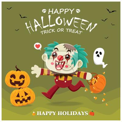 Vintage Halloween poster design with vector clown, ghost, pumpkin character.