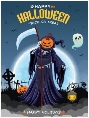 Vintage Halloween poster design with vector demon, devil, reaper, ghost, bat character.