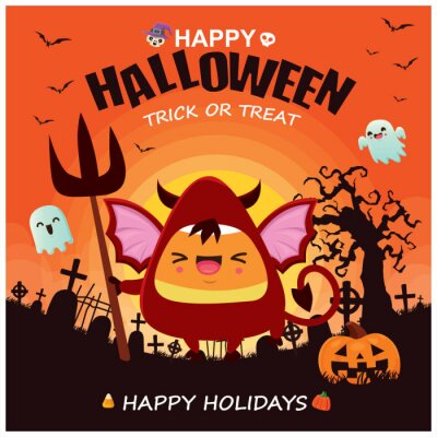 Vintage Halloween poster design with vector demon, devil, witch, ghost, bat character.