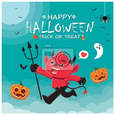 Vintage Halloween poster design with vector demon, ghost, pumpkin character.