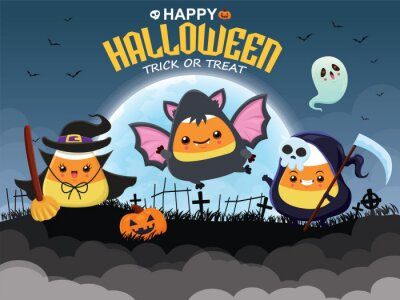 Vintage Halloween poster design with vector demon, witch, devil, reaper, ghost, bat character.