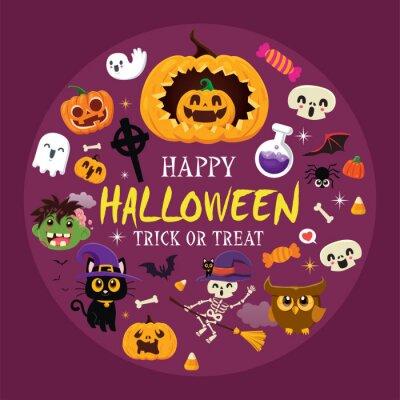 Vintage Halloween poster design with vector demon, witch, zombie, ghost, owl, skeleton, pumpkin, jack o lantern, character set.