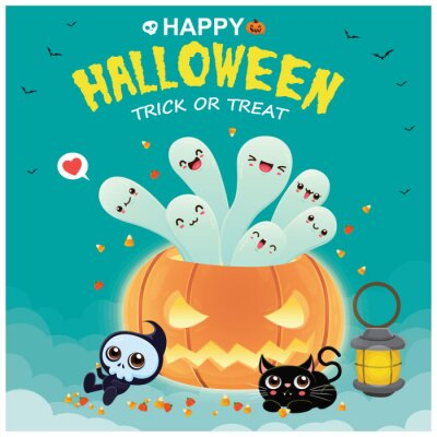 Vintage Halloween poster design with vector ghost, cat, skeleton character.