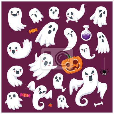 Vintage Halloween poster design with vector ghost character set.