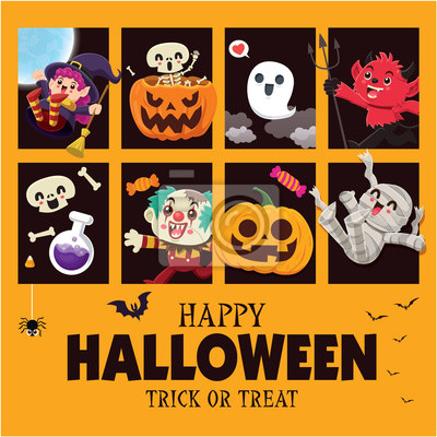Vintage Halloween poster design with vector ghost, demon, witch, ghost, skeleton, pumpkin, jack o lantern, clown, potion, character set.