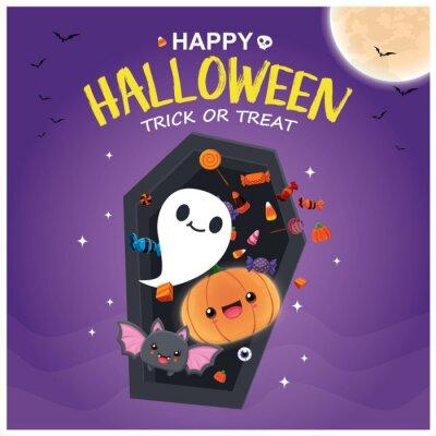 Vintage Halloween poster design with vector ghost, jack o lantern, demon, bat character.
