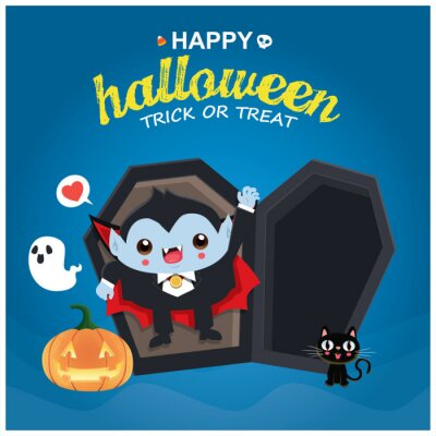 Vintage Halloween poster design with vector ghost, jack o lantern, vampire, cat character.