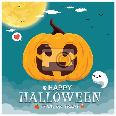 Vintage Halloween poster design with vector ghost, pumpkin character.