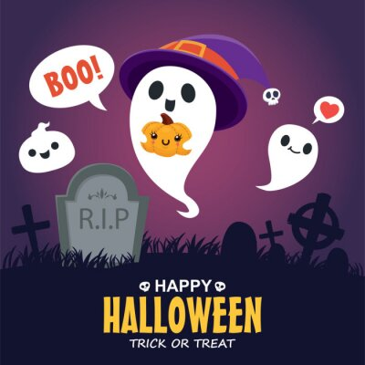 Vintage Halloween poster design with vector jack o lantern, ghost character.