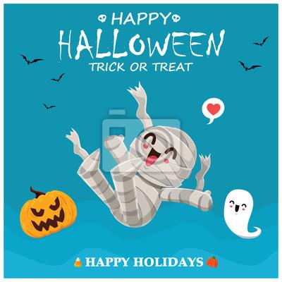 Vintage Halloween poster design with vector mummy, ghost, pumpkin character.