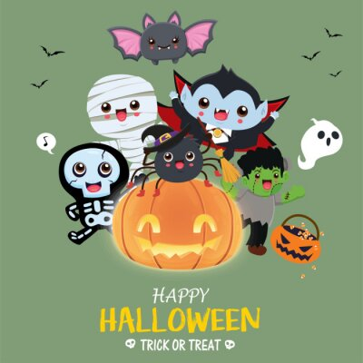 Vintage Halloween poster design with vector mummy, skeleton, bat, vampire, spider, demon, ghost character.