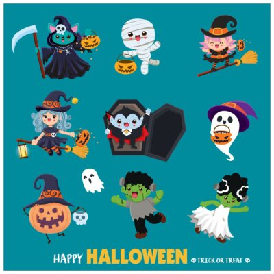 Vintage Halloween poster design with vector mummy, witch, bat, reaper, vampire, mummy, ghost character.