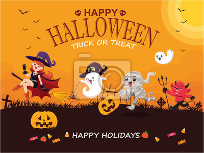 Vintage Halloween poster design with vector mummy, witch, demon, ghost, pumpkin character.