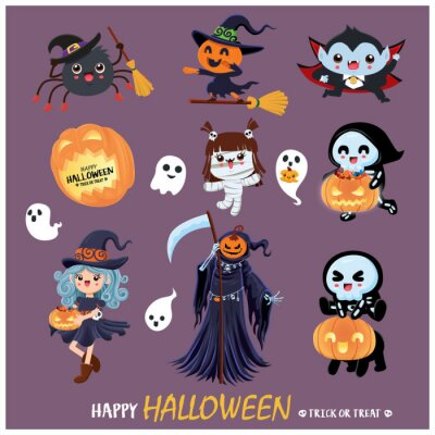Vintage Halloween poster design with vector mummy, witch, spider, skeleton, reaper, vampire, mummy, ghost character.