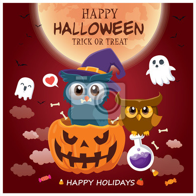 Vintage Halloween poster design with vector owl, cat, ghost, potion, pumpkin character.