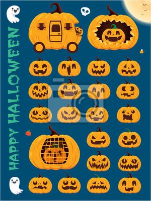 Vintage Halloween poster design with vector pumpkin, skeleton, ghost, pumpkin character.