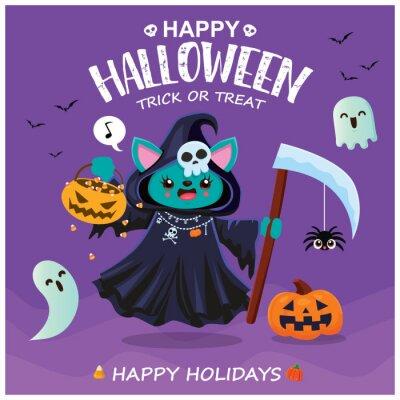 Vintage Halloween poster design with vector reaper, cat character.