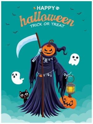 Vintage Halloween poster design with vector reaper, pumpkin character.