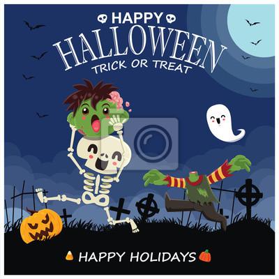 Vintage Halloween poster design with vector skeleteon, zombie, ghost, pumpkin character.
