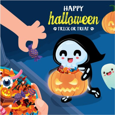 Vintage Halloween poster design with vector skeleton, ghost character.
