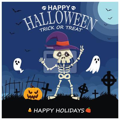 Vintage Halloween poster design with vector skeleton, ghost, pumpkin character.