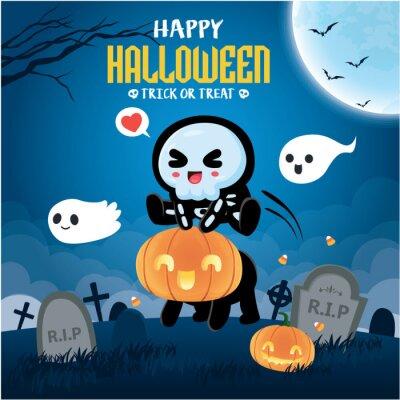 Vintage Halloween poster design with vector skeleton, jack o lantern, ghost character.