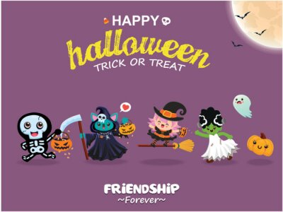 Vintage Halloween poster design with vector skeleton, reaper, witch, ghost character.