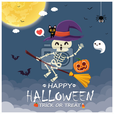 Vintage Halloween poster design with vector skeleton, witch, ghost, pumpkin character.