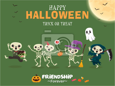 Vintage Halloween poster design with vector skeleton, witch, zombie, reaper, ghost, pumpkin character.