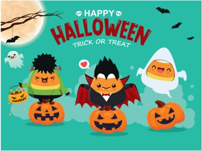Vintage Halloween poster design with vector vampire, demon, ghost character.