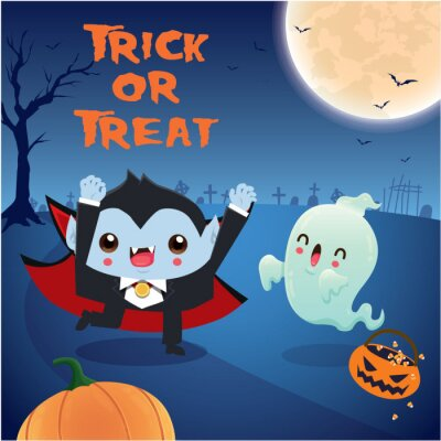 Vintage Halloween poster design with vector vampire, ghost character.