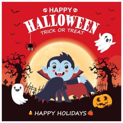 Vintage Halloween poster design with vector vampire, ghost, pumpkin character.