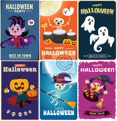 Vintage Halloween poster design with vector vampire, jack o lantern, witch, skeleton, ghost, pumpkin, cat character.