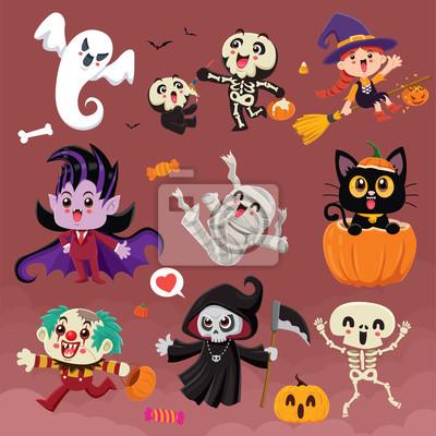 Vintage Halloween poster design with vector vampire, reaper, demon, witch, clown, ghost, skeleton, mummy, pumpkin, jack o lantern, character set.