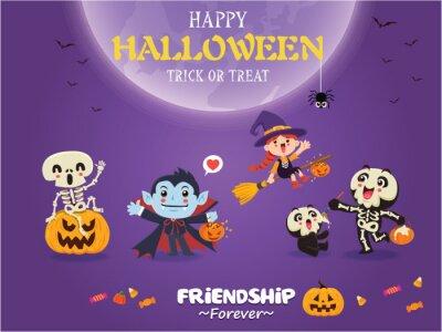 Vintage Halloween poster design with vector vampire, witch, skeleton, ghost, pumpkin character.