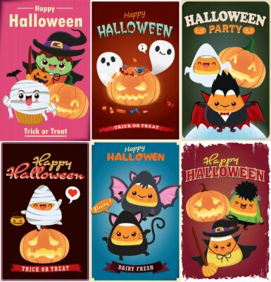 Vintage Halloween poster design with vector witch, bat, cat, vampire, spider character.