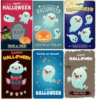 Vintage Halloween poster design with vector witch, bat, ghost, spider character.