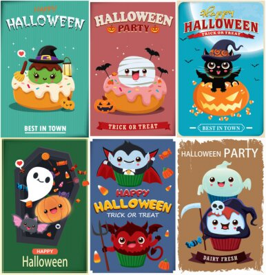 Vintage Halloween poster design with vector witch, bat, reaper, vampire, mummy, ghost, spider character.