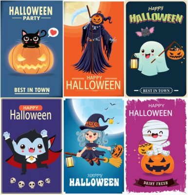 Vintage Halloween poster design with vector witch, bat, reaper, vampire, spider character.
