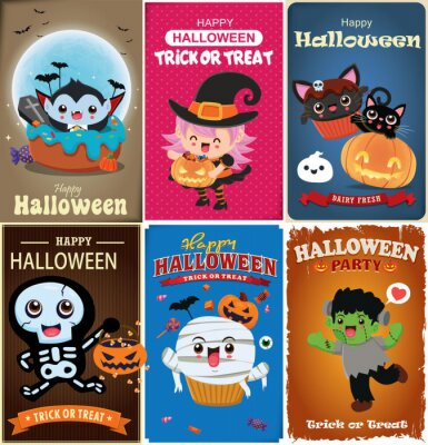 Vintage Halloween poster design with vector witch, bat, skeleton, vampire, mummy, ghost, spider character.
