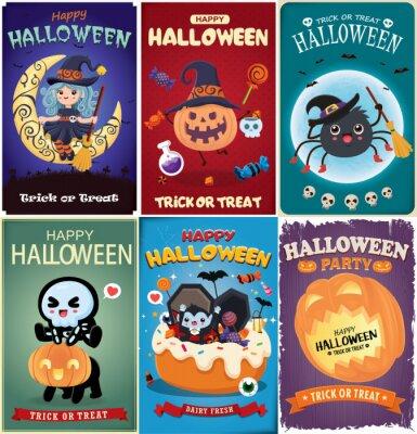 Vintage Halloween poster design with vector witch, bat, skeleton, vampire, spider character.