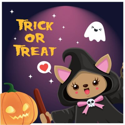 Vintage Halloween poster design with vector witch cat character.