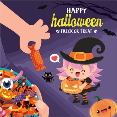 Vintage Halloween poster design with vector witch, cat character.