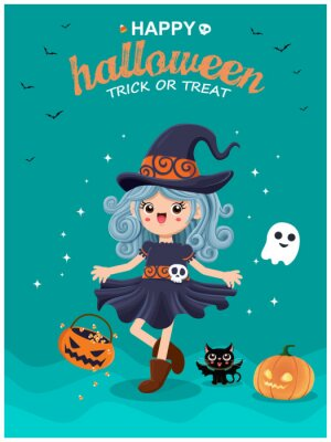 Vintage Halloween poster design with vector witch, cat, ghost character.