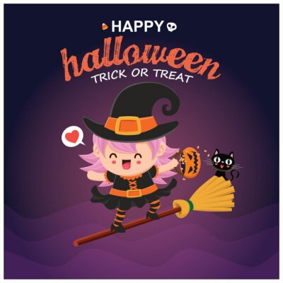 Vintage Halloween poster design with vector witch character.