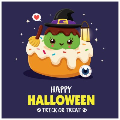 Vintage Halloween poster design with vector witch, cupcake character.