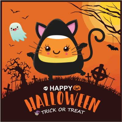 Vintage Halloween poster design with vector witch ghost, bat character.