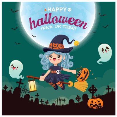 Vintage Halloween poster design with vector witch, ghost character.