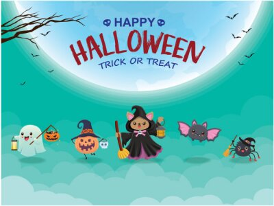 Vintage Halloween poster design with vector witch, ghost, spider, bat character.