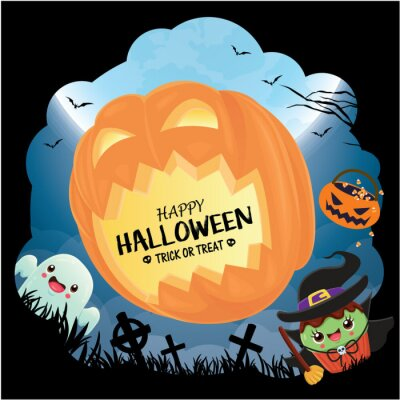 Vintage Halloween poster design with vector witch, jack o lantern, ghost, cupcake character.